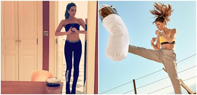 Kate Beckinsale in selfie mode and kickboxing