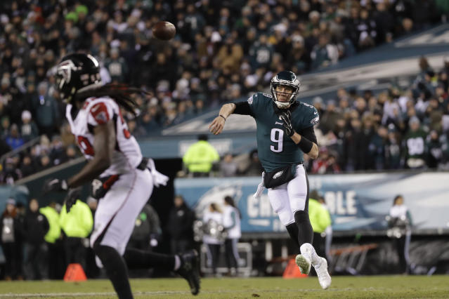 Philadelphia Eagles quarterback Nick Foles helped lead his team to a win over the Falcons. (AP)