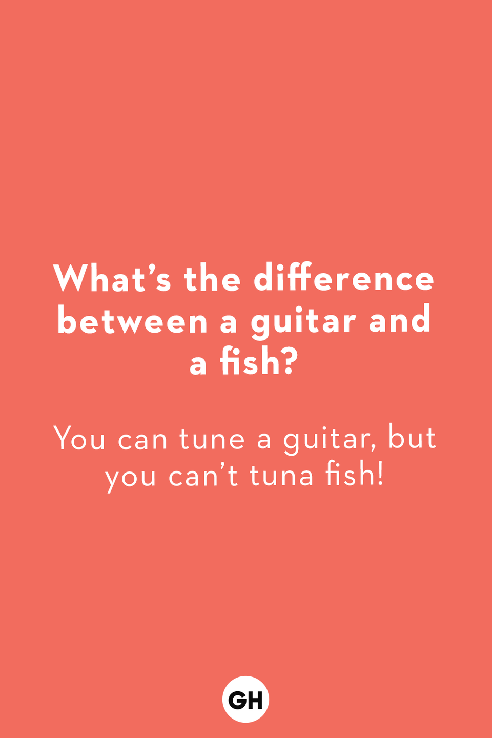 <p>You can tune a guitar, but you can't tuna fish!</p>