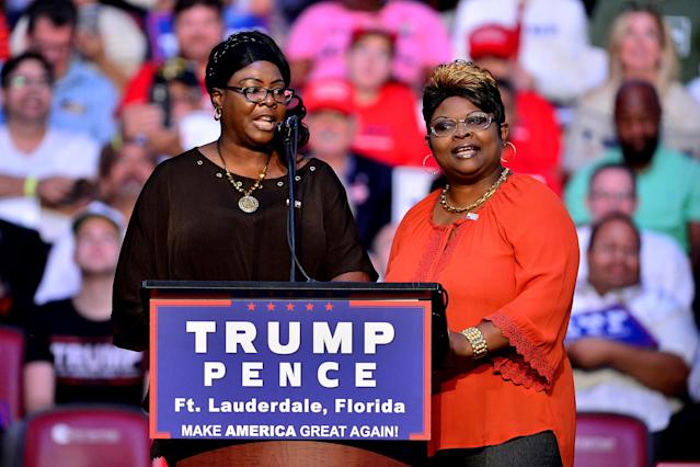 Trump supporters and sisters Diamond, left, and Silk were a topic of discussion in Facebook CEO Mark Zuckerberg's congressional testimony. (Photo: Johnny Louis/WireImage)