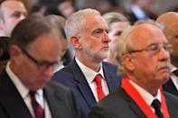 Labour leader Jeremy Corbyn listens during a service of commemoration at Southwark Cathedral to mark one year since the terror attack on London Bridge and Borough, in London, Britain June 3, 2018. Dominic Lipinski/Pool via Reuters