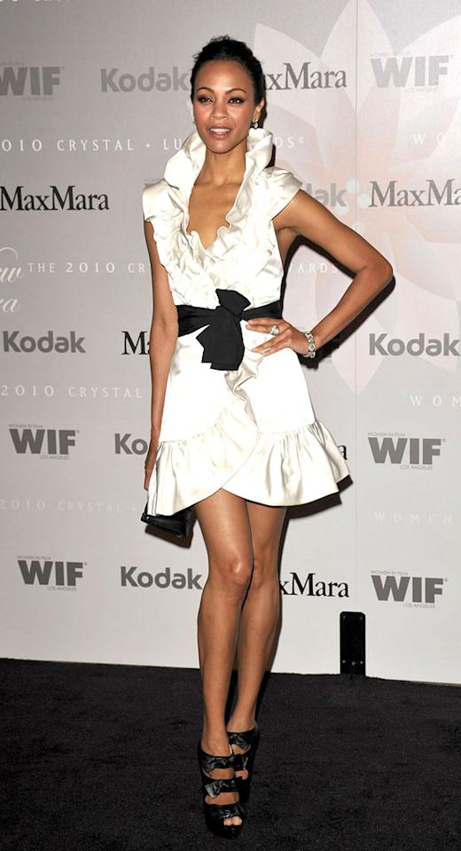 """Although perhaps not quite as impressive as a title bestowed by royalty, at the Women in Film Crystal + Lucy Awards Tuesday, Zoe Saldana was named """"Face of the Future"""" by MaxMara. Fittingly, she wore one of the designer's gorgeous ruffled gowns. John Shearer/<a href=""""http://www.wireimage.com"""" target=""""new"""">WireImage.com</a> - June 1, 2010"""
