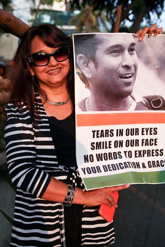 MUMBAI, INDIA-NOVEMBER 14: Rani Verma, 37, at Wankhede Stadium to watch cricket legend Sachin Tendulkar's play his final match for India against West Indies before he permanently retires from the game in Mumbai on 14th November, 2013. (Photo by Karen Dias/For The Washington Post via Getty Images)