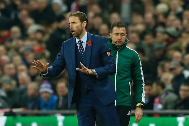 England's Interim manager Gareth Southgate gestures during a World Cup 2018 qualification match between England and Scotland at Wembley stadium in London on November 11, 2016 (AFP Photo/Ian Kington)