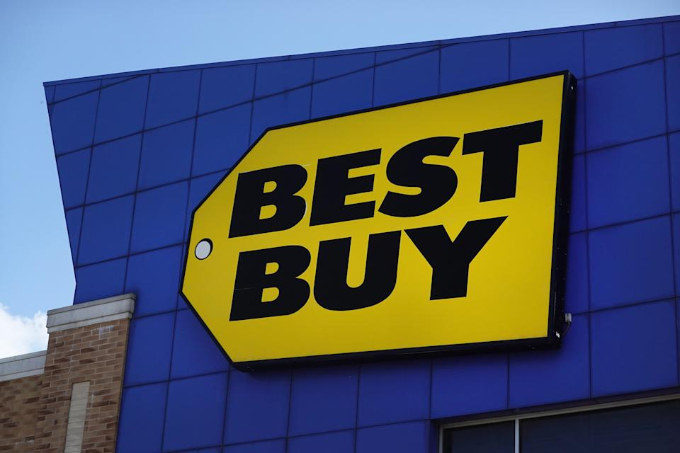 CHICAGO, ILLINOIS - AUGUST 24: A sign marks the location of a Best Buy store on August 24, 2021 in Chicago, Illinois. Best Buy reported an increase in second-quarter sales of nearly 20% as consumers purchased electronics to adjust to lifestyle changes related to the ongoing pandemic. (Photo by Scott Olson/Getty Images)