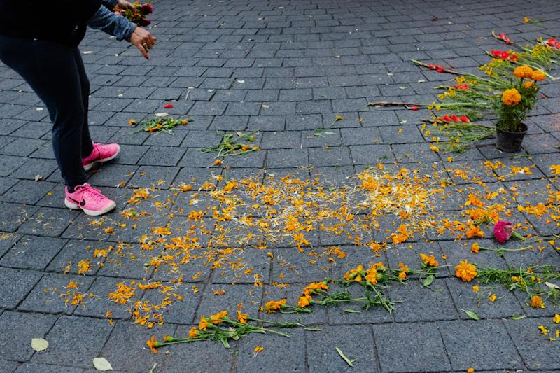 Flower petals scattered to form the camino, or trail, for souls to pass to the ofrenda.