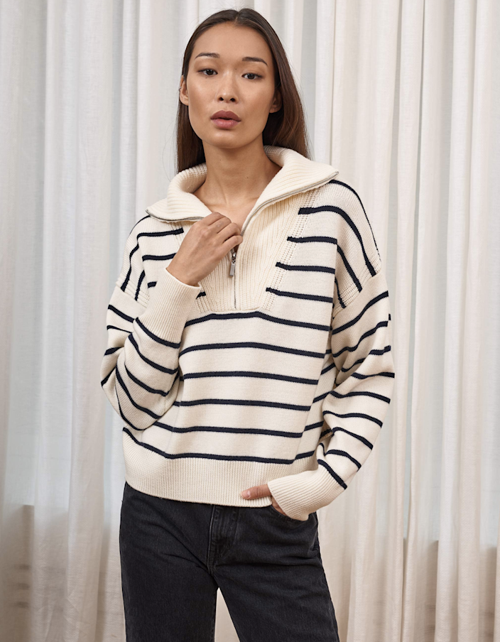 "La Ligne's sweaters are investment pieces you'll wear for years to come. This one is made from ultra-soft merino wool, and the navy stripes feel fresh and classic at the same time. $295, La Ligne. <a href=""https://lalignenyc.com/collections/bastien-sweater/products/bastien-sweater-cream-navy"" rel=""nofollow noopener"" target=""_blank"" data-ylk=""slk:Get it now!"" class=""link rapid-noclick-resp"">Get it now!</a>"