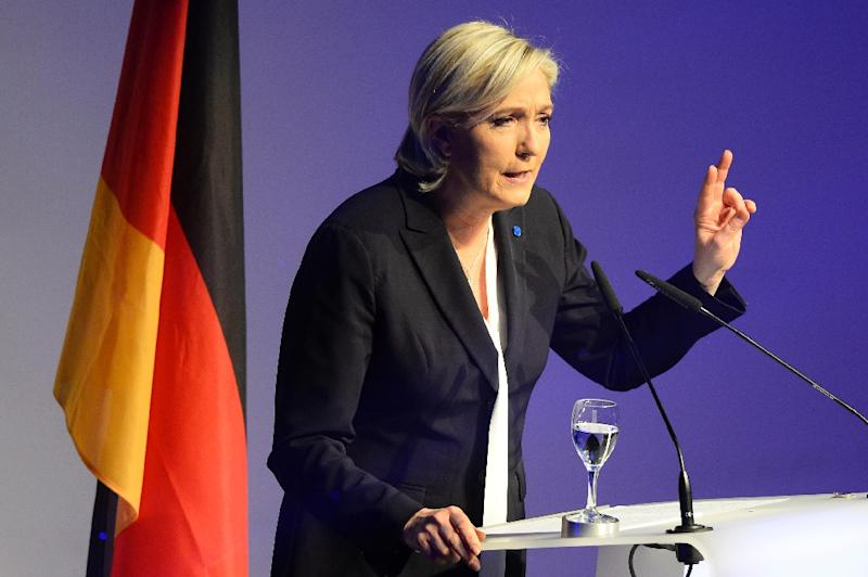 French National Front (FN) leader Marine Le Pen gives a speech to open a meeting in Koblenz, western Germany on January 21, 2017 (AFP Photo/ROBERTO PFEIL)
