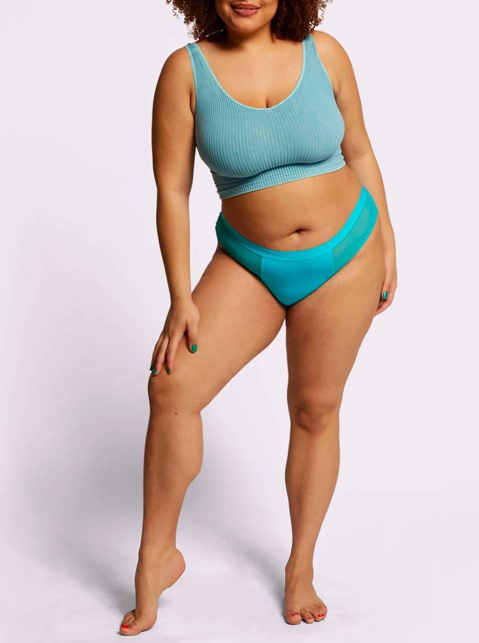 """You don't always have to play it safe with white or beige undies. This bright aqua pair is just as discreet under jeans or dark pants. $9, Parade. <a href=""""https://yourparade.com/products/cheeky?"""" rel=""""nofollow noopener"""" target=""""_blank"""" data-ylk=""""slk:Get it now!"""" class=""""link rapid-noclick-resp"""">Get it now!</a>"""