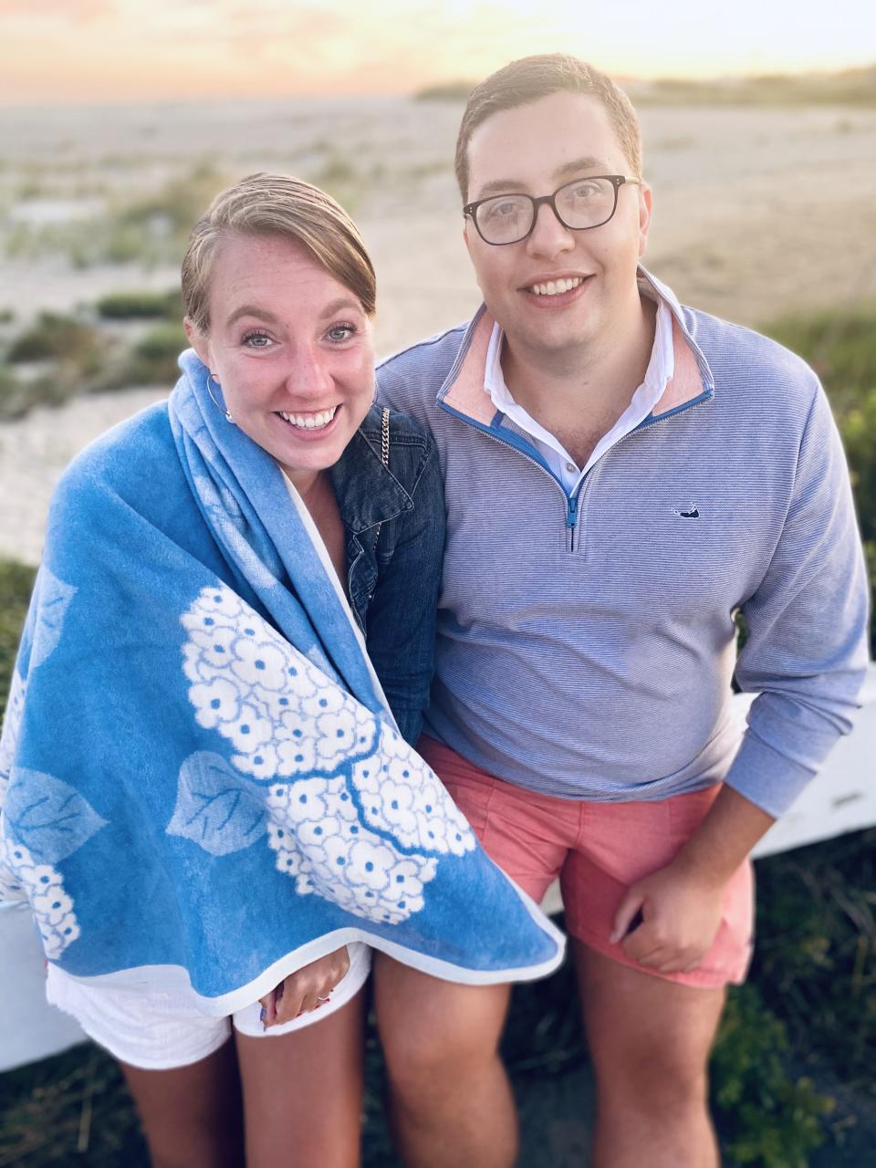 Hailey Murphy and Adam Lemp, pictured, had their wedding plans upended by COVID-19. They postponed their wedding to 2021, but decided to take a first moon, or trip on their original wedding They join one-third of engaged couples in the trend, according to a recent survey by Zola and TravelZoo.(Courtesy of Hailey Murphy)