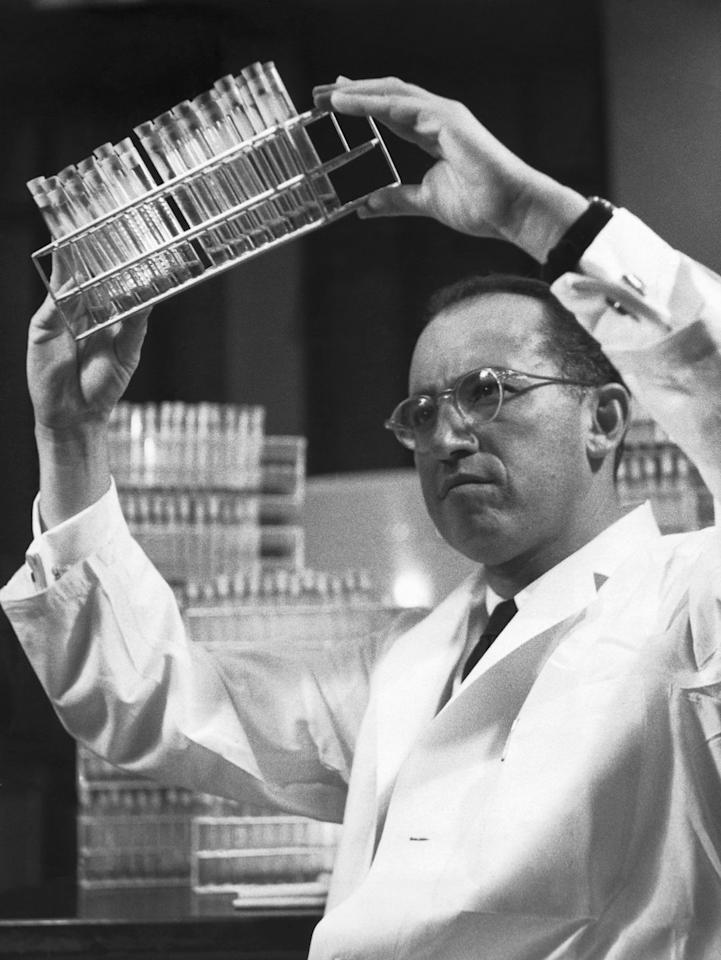 """<p>The year Jonas Salk finds a way to prevent polio, there are 28,985 global cases; by 2017, the number <a href=""""http://www.who.int/news-room/fact-sheets/detail/poliomyelitis"""" target=""""_blank"""">drops to 22</a>. </p><p><strong>Honorable Inventions:</strong> Velcro, TV remote control</p>"""