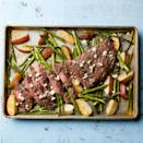 "<p>One pan = less cleanup. To make this sheet-pan dinner work, the potatoes are roasted for 15 minutes before the asparagus and skirt steak are added. Finished with rosemary and blue cheese, it's our easy--and healthy--take on steak frites. <a href=""http://www.eatingwell.com/recipe/262736/sheet-pan-steak-potatoes/"" rel=""nofollow noopener"" target=""_blank"" data-ylk=""slk:View recipe"" class=""link rapid-noclick-resp""> View recipe </a></p>"