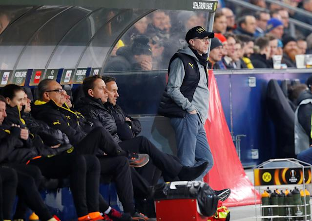 Soccer Football - Europa League Round of 16 Second Leg - RB Salzburg vs Borussia Dortmund - Red Bull Arena Salzburg, Salzburg, Austria - March 15, 2018 Borussia Dortmund coach Peter Stoeger REUTERS/Leonhard Foeger