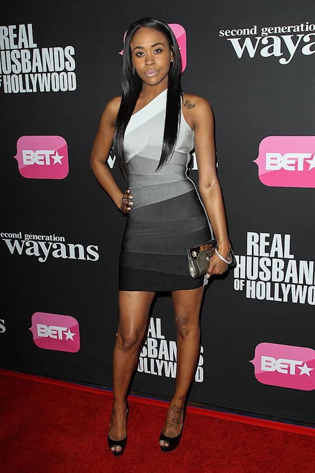 "Raquel Lee arrives at the screenings of BET Networks' ""Real Husbands of Hollywood"" and ""Second Generation Wayans"" held at the Regal Cinemas L.A. Live on January 8, 2013 in Los Angeles, California."
