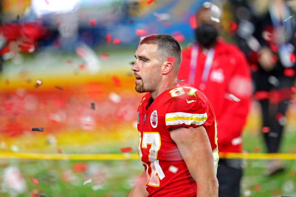Feb 7, 2021; Tampa, FL, USA;  Kansas City Chiefs tight end Travis Kelce (87) reacts after loosing to the Tampa Bay Buccaneers in Super Bowl LV at Raymond James Stadium.  Mandatory Credit: Mark J. Rebilas-USA TODAY Sports