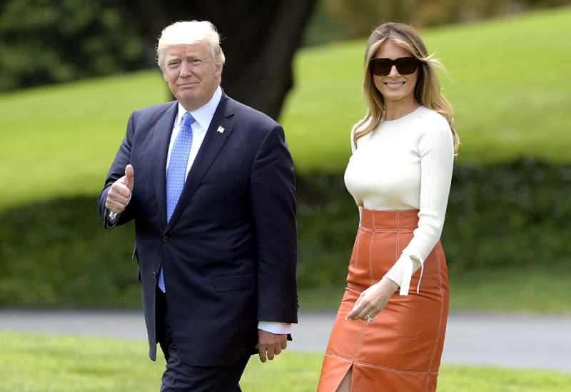 Donald and Melania Trump on the White House lawn on May 19