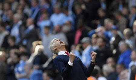 Britain Football Soccer - Arsenal v Manchester City - FA Cup Semi Final - Wembley Stadium - 23/4/17 Arsenal manager Arsene Wenger celebrates after the match Reuters / Toby Melville Livepic