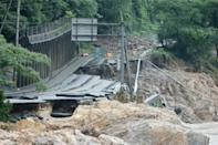 The torrential rain in Japan destroyed roads and bridges, cutting off isolated rural communities