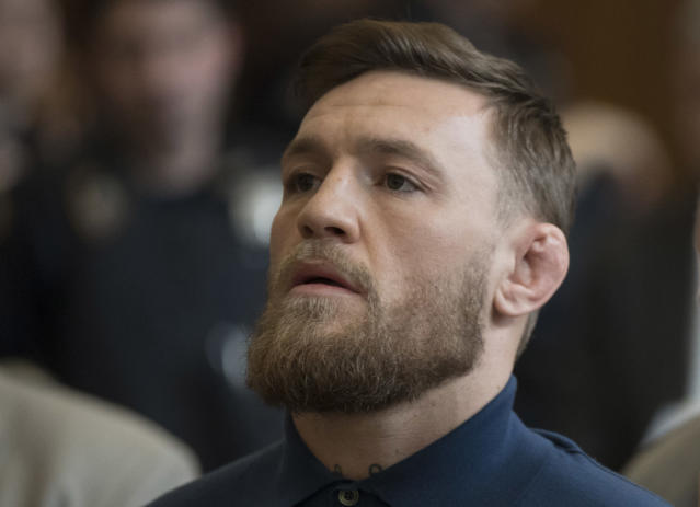 Conor McGregor looks on during his arraignment at a Brooklyn criminal court on April 6, 2018. (AFP/Getty Images)
