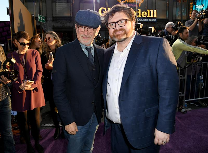 """HOLLYWOOD, CA - MARCH 26: Steven Spielberg and author Ernest Cline attend the Premiere of Warner Bros. Pictures' """"Ready Player One"""" at Dolby Theatre on March 26, 2018 in Hollywood, California. (Photo by Kevin Winter/Getty Images)"""