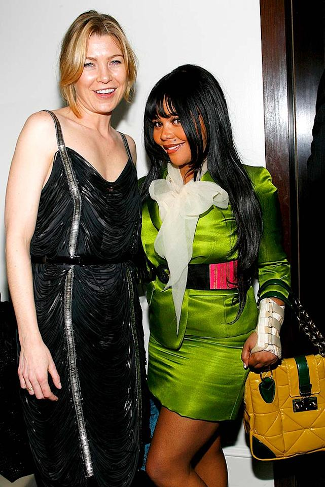 """""""Grey's Anatomy"""" star Ellen Pompeo and train wreck rapper Lil' Kim arrive at the party in unflattering attire. After having just seen a documentary about the hot shot fashion designer's partnership with the famed luxury goods maker, these two should be ashamed to show up looking like that! Mark Von Holden/<a href=""""http://www.wireimage.com"""" target=""""new"""">WireImage.com</a> - January 31, 2008"""
