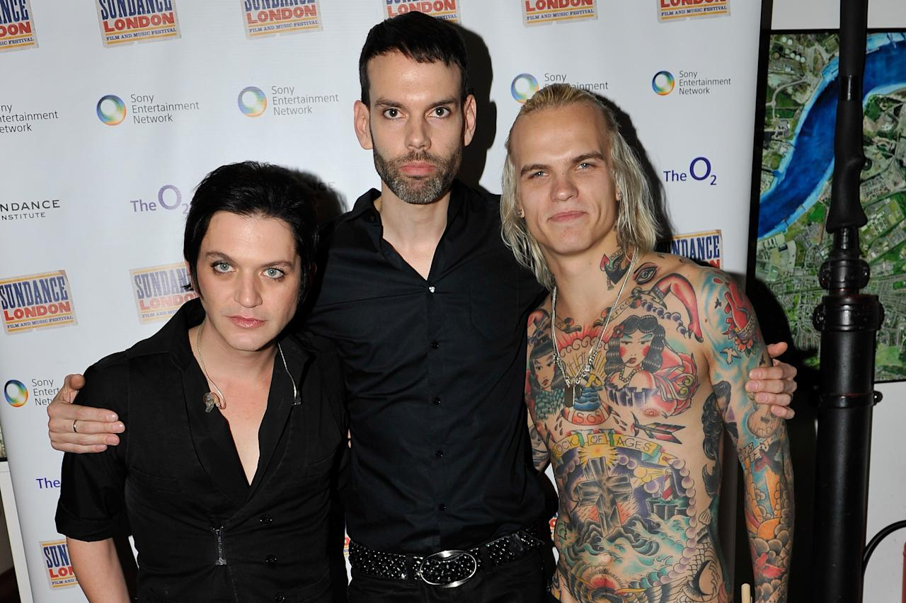 LONDON, ENGLAND - APRIL 28:  Brian Molko, Stefan Olsdal and Steve Forrest of Placebo pose backstage before performing during Sundance London at Indigo2 at O2 Arena on April 28, 2012 in London, England.  (Photo by Gareth Cattermole/Getty Images for Sundance/AEG Europe)