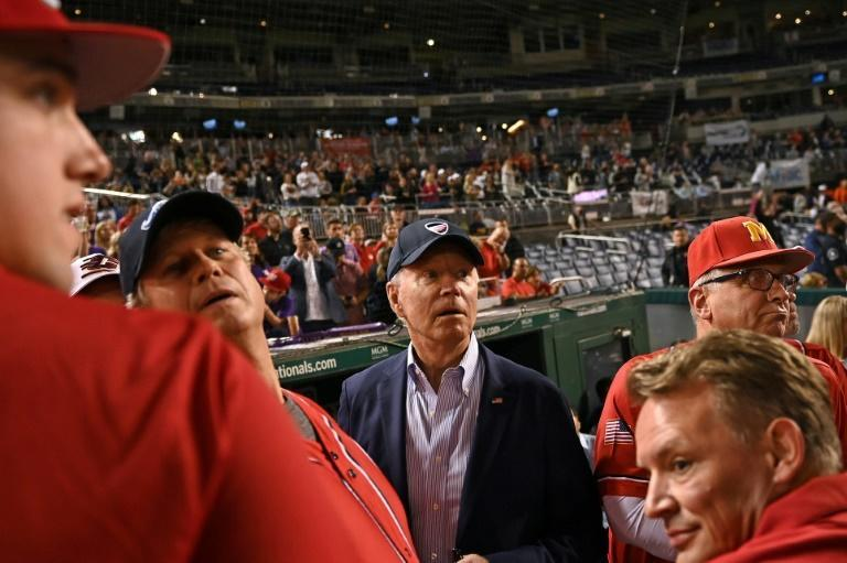 US President Joe Biden went to watch the Congressional Baseball Game and handed out ice cream (AFP/Brendan SMIALOWSKI)