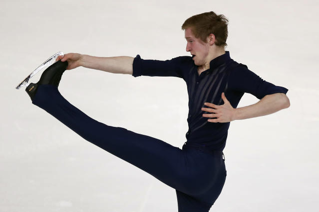 Alexander Samarin of Russia competes in the Men Short Program during the ISU figure skating France's Trophy, in Grenoble, French Alps, France, Friday, Nov. 1, 2019. (AP Photo/Francois Mori)