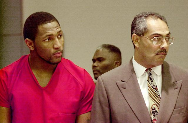 Ray Lewis and his attorney Max Richardson Jr., listen to the proceedings in Atlanta Municipal Court during Lewis' preliminary hearing on Feb. 1, 2000, in Atlanta. (AP)