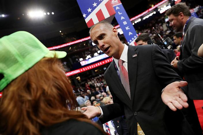 <p>Corey Lewandowski, former campaign manager for Donald Trump, speaks to Virginia delegate Waverly Woods on the first day of the Republican National Convention on July 18, 2016 at the Quicken Loans Arena in Cleveland, Ohio. An estimated 50,000 people are expected in Cleveland, including hundreds of protesters and members of the media. The four-day Republican National Convention kicks off on July 18. (John Moore/Getty Images)</p>