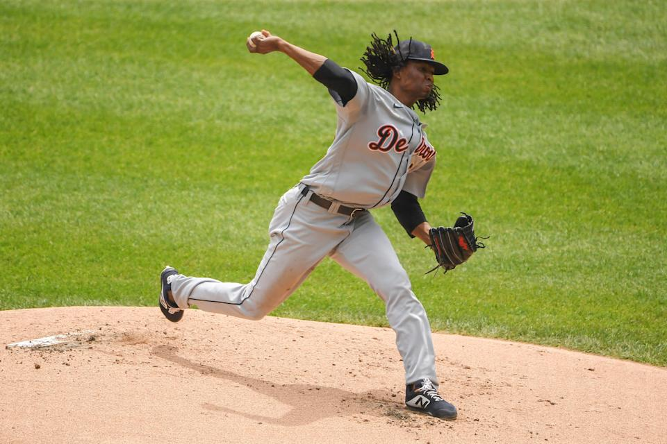 Tigers pitcher Jose Urena throws in the first inning of the Tigers' 3-0 loss on Sunday, June 6, 2021, in Chicago.