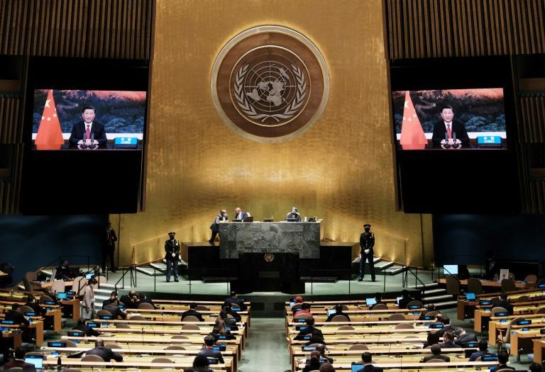 Chinese President Xi Jinping virtually addresses the UN General Assembly (AFP/Spencer Platt)
