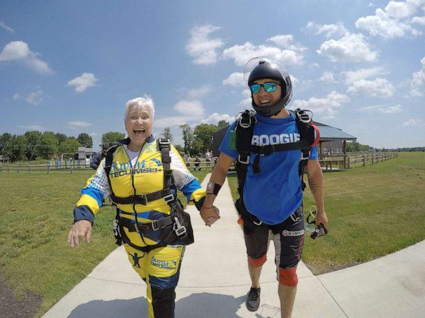 PHOTO: Beverly Mylek, 78, walking to the plane she will jump from momentarily. (Skydive Tecumseh)