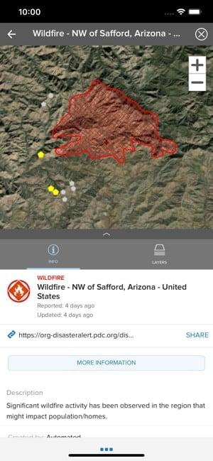 Screenshot of the Disaster Alert app with a map showing a wildfire and further information about the disaster
