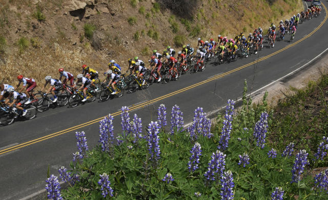 The peloton rides near Lake Casitias during Stage 2 of the AMGEN Tour of California cycling race Monday, May 14, 2018, in Oak View, Calif. (AP Photo/Mark J. Terrill)