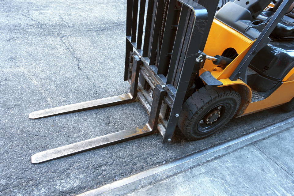 A close-up shot of a forklift. (PHOTO: Getty Images)