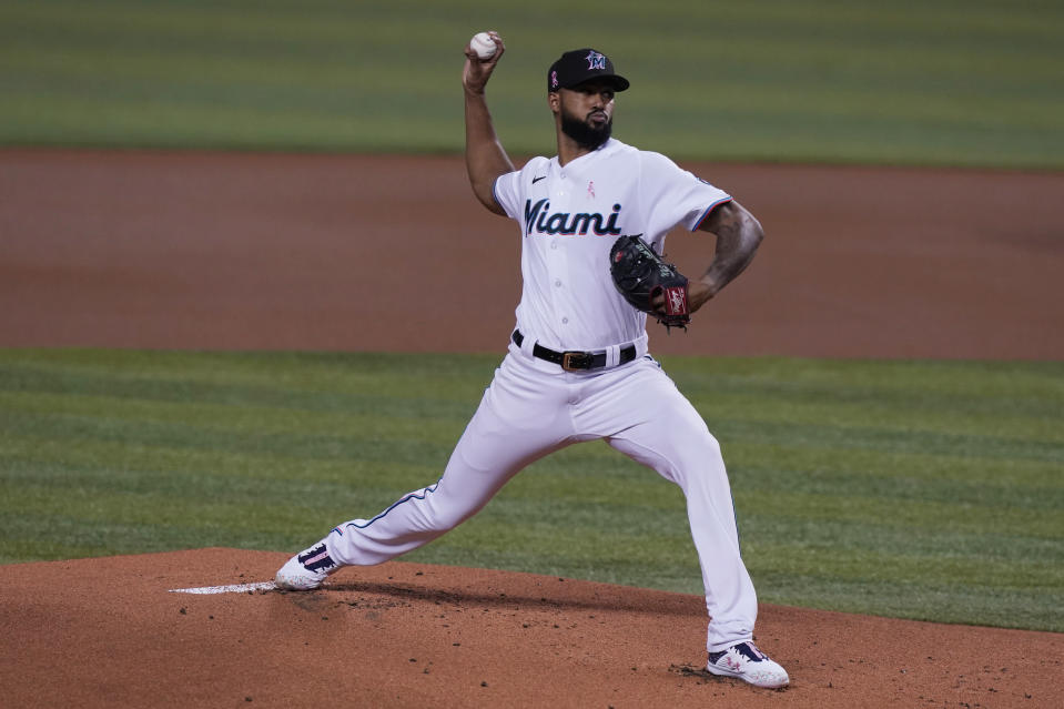 Miami Marlins starting pitcher Sandy Alcantara throws during the first inning of a baseball game against the Milwaukee Brewers, Sunday, May 9, 2021, in Miami. (AP Photo/Marta Lavandier)