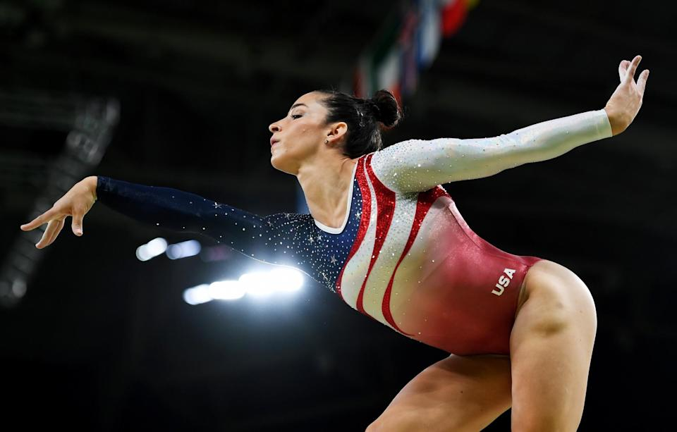 <p>Alexandra Raisman of the United States competes on the balance beam during the Artistic Gymnastics Women's Team Final on Day 4 of the Rio 2016 Olympic Games at the Rio Olympic Arena on August 9, 2016 in Rio de Janeiro, Brazil. (Photo by Laurence Griffiths/Getty Images) </p>