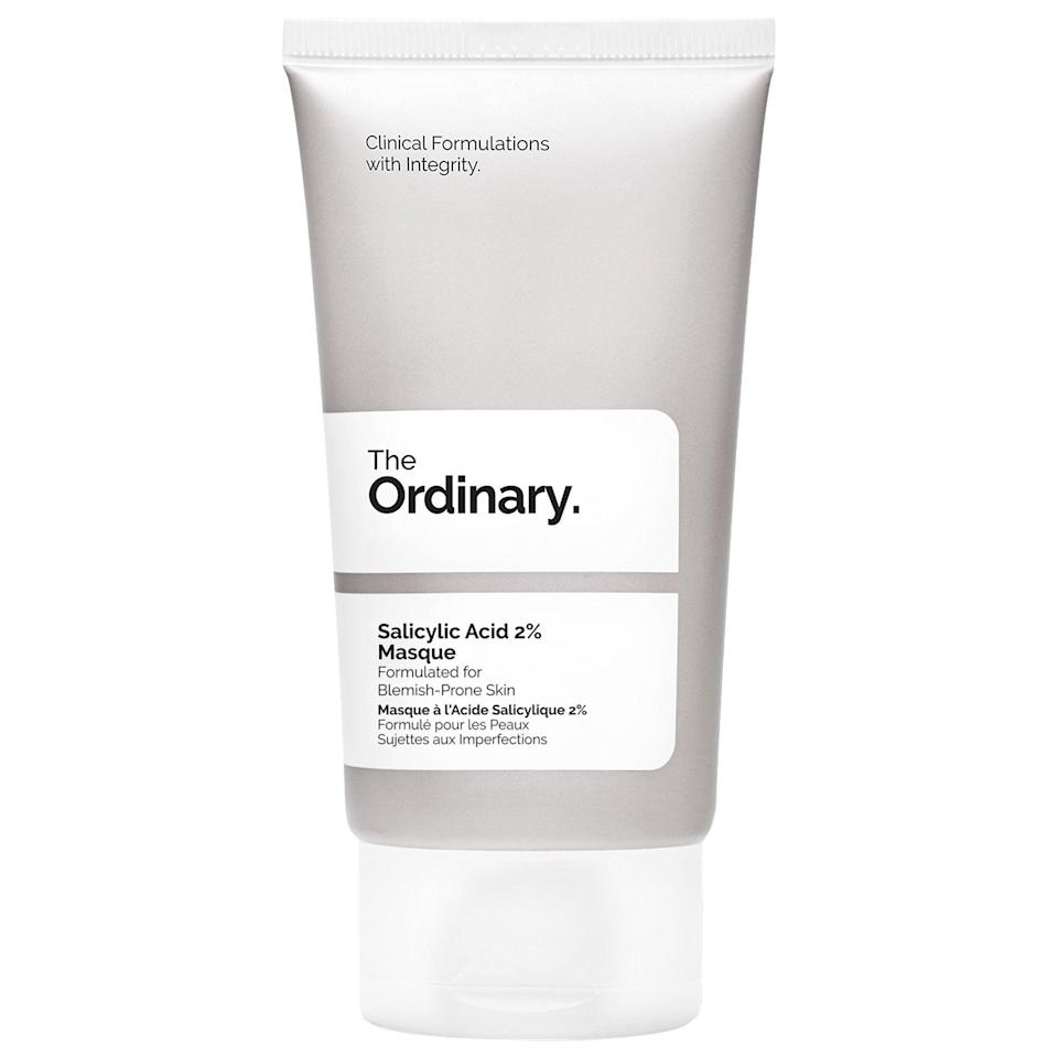 """<p><strong>The Ordinary</strong></p><p>sephora.com</p><p><strong>$12.00</strong></p><p><a href=""""https://go.redirectingat.com?id=74968X1596630&url=https%3A%2F%2Fwww.sephora.com%2Fproduct%2Fthe-ordinary-salicylic-acid-2-masque-P448530&sref=https%3A%2F%2Fwww.townandcountrymag.com%2Fstyle%2Fbeauty-products%2Fg34762905%2Fmaskne-face-mask-acne-treatment%2F"""" rel=""""nofollow noopener"""" target=""""_blank"""" data-ylk=""""slk:Shop Now"""" class=""""link rapid-noclick-resp"""">Shop Now</a></p><p>Salicylic acid effectively sloughs off dry skin to give pimples the heave-ho, while charcoal and clay work to impart brightness and smoothness. </p>"""