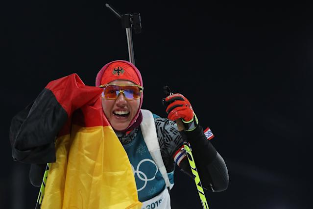 <p>Two days after topping the podium in the women's 7.5km Sprint, Laura Dahlmeier won her second straight gold medal in PyeongChang in the women's 10km Pursuit. She was joined on the podium by Slovakian Anastasiya Kuzmina, who took silver, and France's Anais Bescond who took bronze. (Getty) </p>