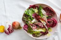 """This sweet-sharp vinaigrette pairs well with the bitter chicories, but feel free to use another sturdy green if you like. <a href=""""https://www.epicurious.com/recipes/food/views/chicory-escarole-radicchio-salad-with-honey-mustard-vinaigrette?mbid=synd_yahoo_rss"""" rel=""""nofollow noopener"""" target=""""_blank"""" data-ylk=""""slk:See recipe."""" class=""""link rapid-noclick-resp"""">See recipe.</a>"""