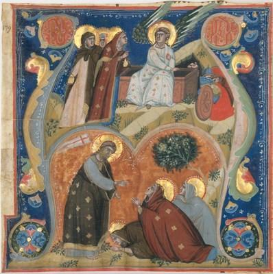 Nerio (active at the end of the 13th and the beginning of the 14th century).  Clipping from a choir book (antiphonal): Easter Scenes: The Three Maries at the Tomb with the Angel of the Resurrection, and The Risen Christ Appearing to the Three Maries (in the initial A), ca.  1315. Tempera, gold and ink on parchment, 9 3/8 x 9 3/8 in.  The Metropolitan Museum of Art, New York, New York, Rogers Fund, 12.56.1