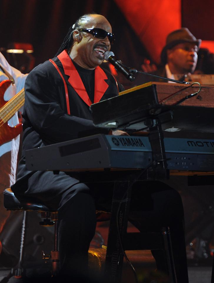 "LOS ANGELES, CA - OCTOBER 15:  (CALL FOR IMAGE, NO ARCHIVE, FOR EDITORIAL USE OF STORIES RELATED TO A DECADE OF DIFFERENCE: A CONCERT CELEBRATING 10 YEARS OF THE WILLIAM J. CLINTON FOUNDATION ONLY)  In this handout image provided by Getty Images, musician Stevie Wonder performs at ""A Decade of Difference:  A Concert Celebrating 10 Years of the William J. Clinton Foundation."" The star-studded affair, a charitable event organized to raise awareness around Clinton Foundation's efforts to improve global health, strengthen economies worldwide, promote healthier childhoods, and protect the environment, was held at the iconic Hollywood Bowl on October 15, 2011 in Los Angeles, California.  (Photo by Kevin Mazur/Getty Images for Control Room)"
