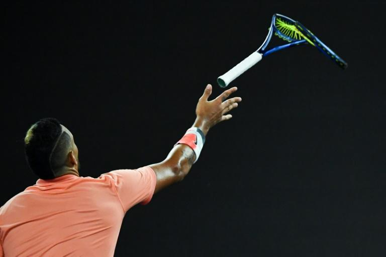 Kyrgios often shows his temper on court, as when he smashed this racquet during his match against Rafael Nadal at this year's Australian Open