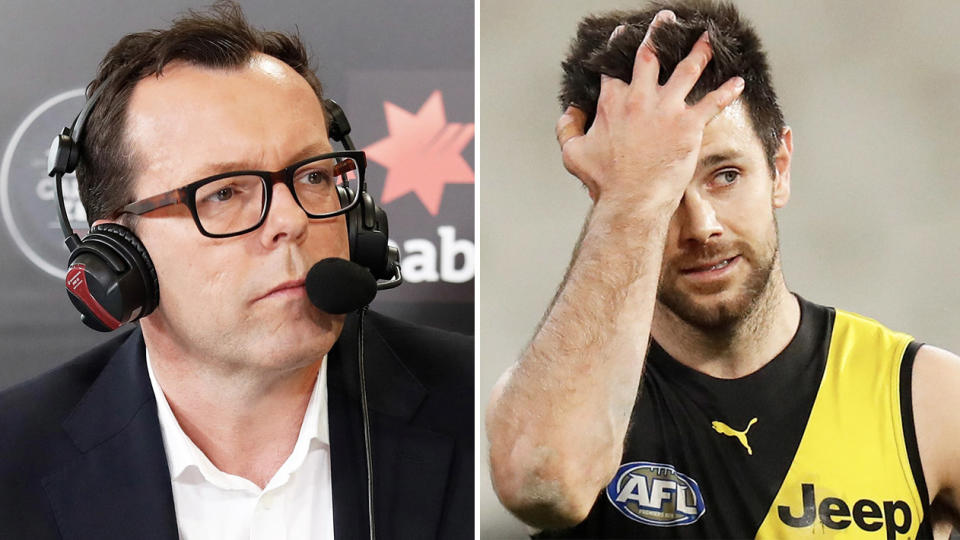 AFL.com.au journalist Damian Barrett (pictured left) and Trent Cotchin (pictured right).