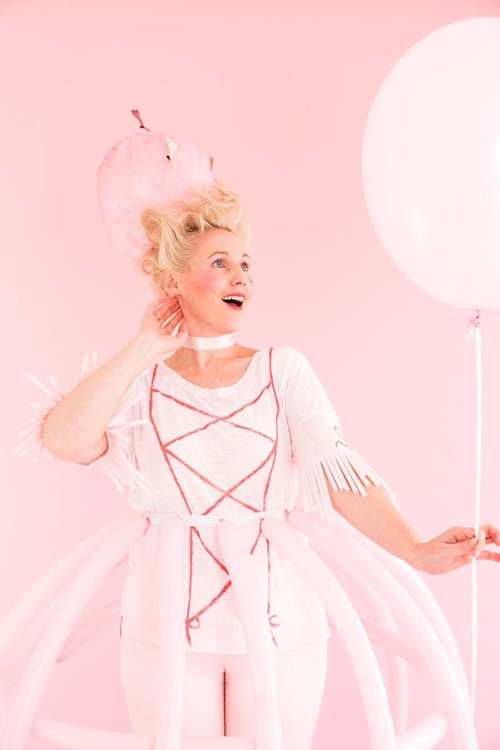 """<p>You learned about her in school, and now you can dress up as the famous French queen for Halloween. A DIY balloon skirt, corset shirt, and headpiece come together for an all-pink look that's royally chic.</p><p><strong>See more at <a href=""""https://thehousethatlarsbuilt.com/2016/10/3-last-minute-diy-costumes-from-your-craft-closet.html/"""" rel=""""nofollow noopener"""" target=""""_blank"""" data-ylk=""""slk:The House That Lars Built"""" class=""""link rapid-noclick-resp"""">The House That Lars Built</a>. </strong></p><p><a class=""""link rapid-noclick-resp"""" href=""""https://www.amazon.com/Carykon-Thickening-Twisting-Balloons-Balloon/dp/B08MC3LQBD/ref=sr_1_1?tag=syn-yahoo-20&ascsubtag=%5Bartid%7C2164.g.37115224%5Bsrc%7Cyahoo-us"""" rel=""""nofollow noopener"""" target=""""_blank"""" data-ylk=""""slk:SHOP LONG PINK BALLOONS"""">SHOP LONG PINK BALLOONS</a></p>"""