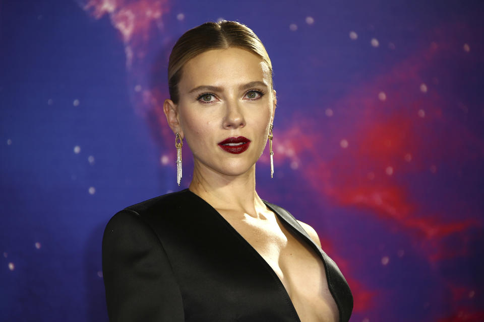 Actress Scarlett Johansson poses for photographers upon arrival at the 'Avengers Endgame' fan event in London, Wednesday, April 10, 2019. (Photo by Joel C Ryan/Invision/AP)