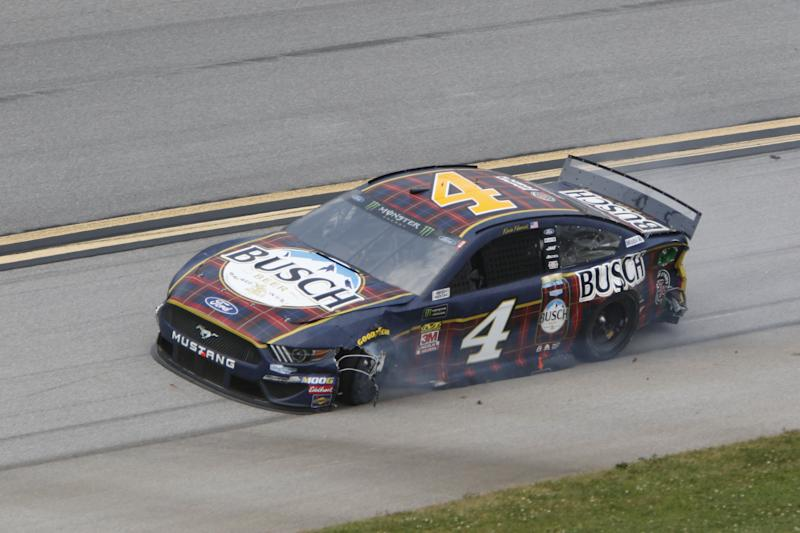 This is what Kevin Harvick's car looked like after he got caught up in an early-race crash.