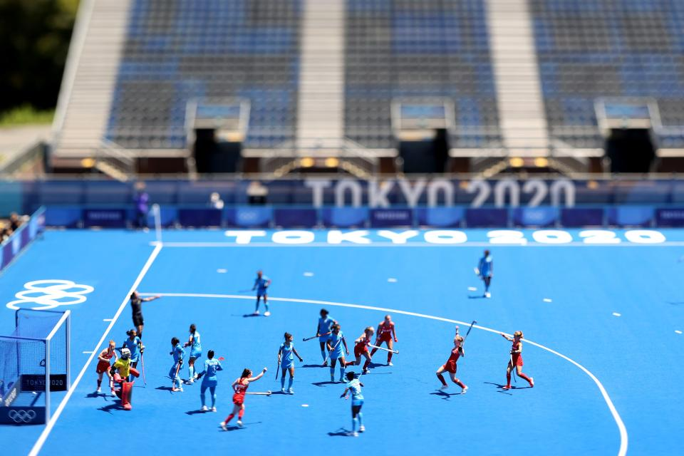 <p>(EDITORS NOTE: Image was created using a variable planed lens.) Team captain Hollie Pearne-Webb (C) of Team Great Britain celebrates scoring the 3rd goal during the Women's Bronze medal match between Great Britain and India on day fourteen of the Tokyo 2020 Olympic Games at Oi Hockey Stadium on August 06, 2021 in Tokyo, Japan. (Photo by Alexander Hassenstein/Getty Images)</p>