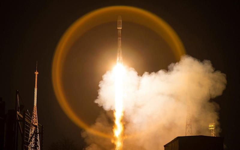 A Soyuz-2 rocket takes-off with OneWeb satellites from the Baikonur Cosmodrome in Kazakhstan - Roscosmos Space Agency Press Service/Roscosmos Space Agency Press Service
